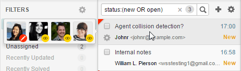 Agent collision in a tickets list